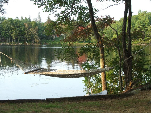 Northwood NH hammock at Harvey Lake
